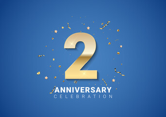 Fototapeta 2 anniversary background with golden numbers, confetti, stars on bright blue background. Vector Illustration obraz