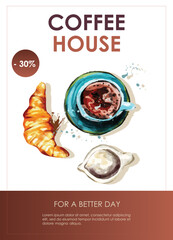 Obraz Promo flyer with cup of coffee. Coffee house, nutrition, cooking, breakfast menu. Vector illustration for banner, poster, special offer, menu. - fototapety do salonu