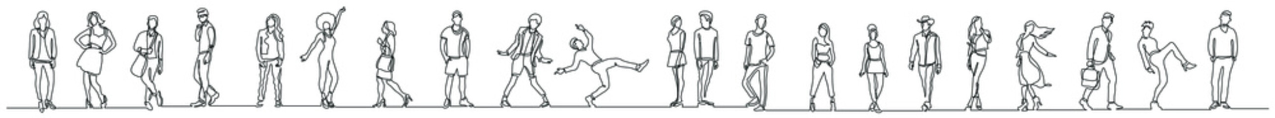 continuous line drawing of group of various regular diverse people standing in a row