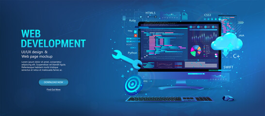 Creation and development of web sites. Programming, coding, graphic design, usability UI, UX, KIT. 3D web banner template development Web and App, coding and programming. Vector 3D illustration