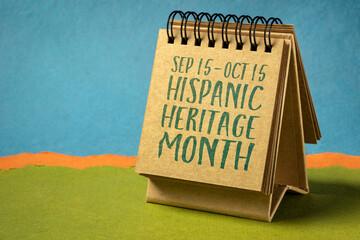 Fototapeta September 15 - October 15, National Hispanic Heritage Month - handwriting in a sketchbook or desktop calendar, reminder of cultural event obraz