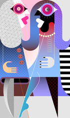 Two beautiful fashionable women talking with each other. Modern art vector illustration with volume gradient effect.