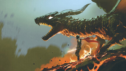 knight with the light sword standing near the giant fire dragon, digital art style, illustration painting