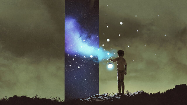 fantasy scene of the kid holding a lantern and looking at the stars-dimensional window, digital art style, illustration painting