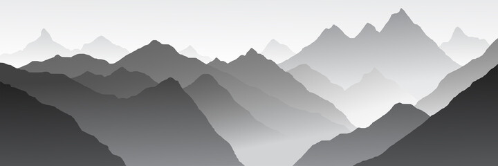 Fantasy on the theme of the mountain landscape, black and white landscape