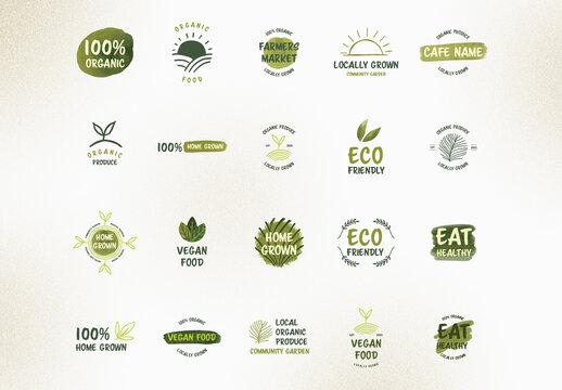 Green Organic Logo Set
