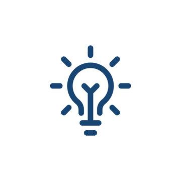 blue linear bright light bulb like insight logo