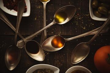 Fototapeta Still Life Of Condiments, Olive Oil And Vinegars obraz