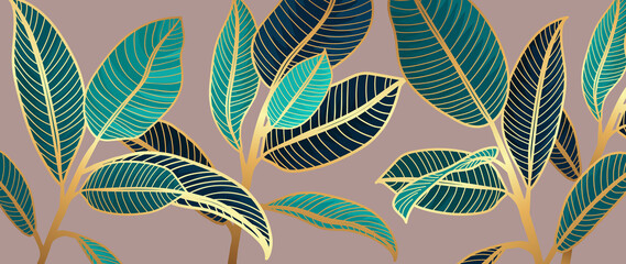 Golden leaves line art pink background vector. luxury gold abstract wallpaper with blue and tidewater green color. Design for prints, Home decoration, fabric and cover design. vector illustration.