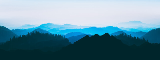 Blue landscape background banner panorama illustration -.Breathtaking view with black silhouette of mountains, hills and forest
