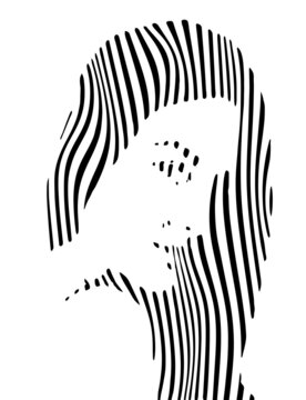 Charming young woman in profile with striped wavy pattern, concept vector illustration. Beautiful female face
