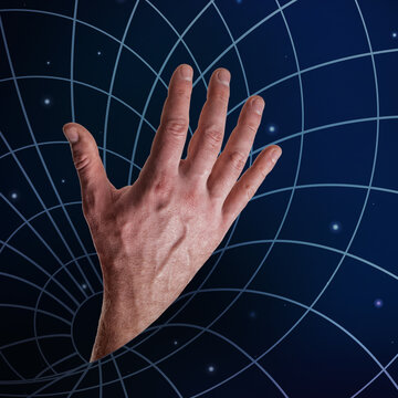 Male hand drowned in the Black Hole of Universe, in social media, virtual reality. Provocative modern design about Internet addiction and request for help, SOS. Сontemporary art collage