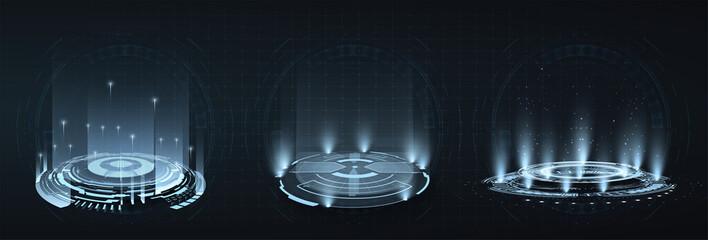 HUD, GUI futuristic portal, hologram. Futuristic set circles virtual interface elements. Level up effect. Realistic teleportation portal. Abstract technology communication design innovative background