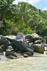 Happy elderly couple resting