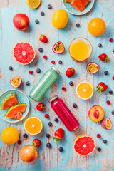 Variation of smoothies and refreshing drinks with fresh fruits for hot summer