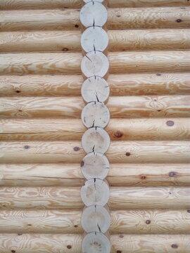 wooden frame of a residential building made of Karelian fir