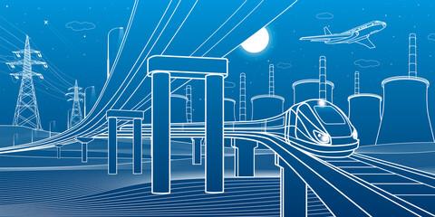 Outline road bridge. Car overpass. Train rides. City Infrastructure and transport illustration. Urban scene. Vector design art. White lines on blue background
