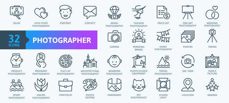 Photographer, photography - thin line web icon set. Outline icons collection. Simple vector illustration.