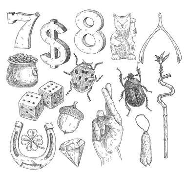 Set lucky symbols. Vintage hatching monochrome black illustration. Isolated on white