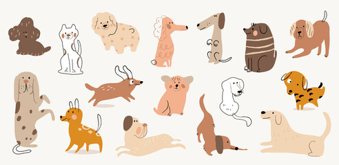 Cute dogs watercolor doodle vector set. Cartoon dog or puppy characters design collection with flat color in different poses. Set of purebred pet animals isolated on white background.