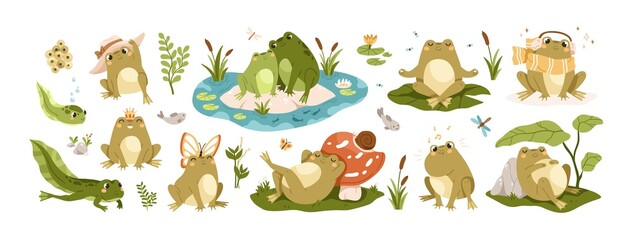 Set of happy frogs, funny toads and cute tadpoles. Set of childish froggy characters with pond, water, leaf, insect and butterfly. Colored flat vector illustrations isolated on white background
