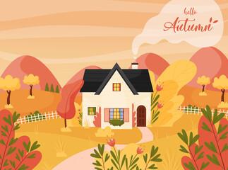 Golden fall season. Autumn landscape scene with farm cottage house. Fields and hills. Hello Autumn lettering. Vector illustration.