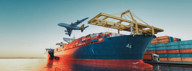 Obraz ariport to seaport cargo logistics via ground trrandsportation in container yard. 3d render and illustration - fototapety do salonu