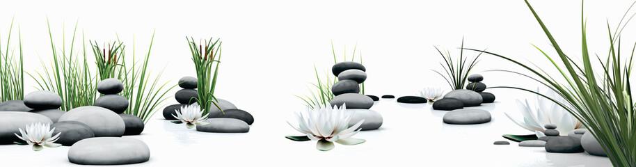 Obraz SPA LOTUS FLOWER AND GRASS  - fototapety do salonu