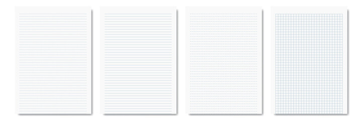 pieces of notepad and notebook isolated on white for pattern and design