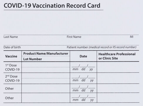 Blank Covid 19 vaccination record card