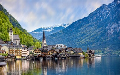 Houses Buildings Village River Mountains Outdoors