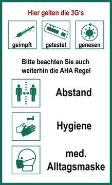 Hinweisschild mit 3G- und Aha Regel.