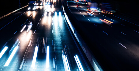 busy highway traffic at night