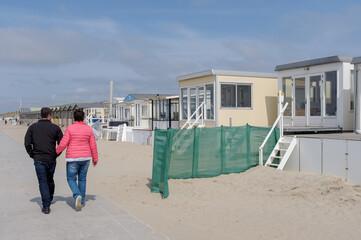 Beach houses on the beach of Wijk aan Zee, Noord-Holland Province, The Netherlands