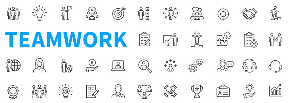 Business teamwork icons set. Contains such icons as business people, idea, presentation, goal, reward, delegation and others. Work group. Outline icons collection. Line style - stock vector.