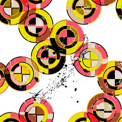 seamless geometric pattern background, retro style, with circles, stripes, paint strokes and splashes