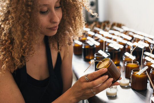 Inside craft candle workshop with woman owned small business
