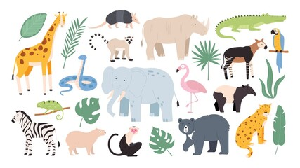 Flat wild safari animals from rainforest and savanna. Jungle forest birds, monkey and snake. African zebra, crocodile and jaguar vector set