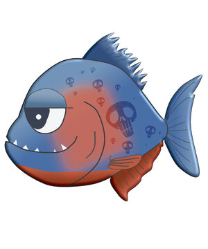 small piranha with grin on face