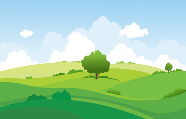 landscape summer green fields with hill,grass,trees,white cloud and blue sky background .vector illustration.