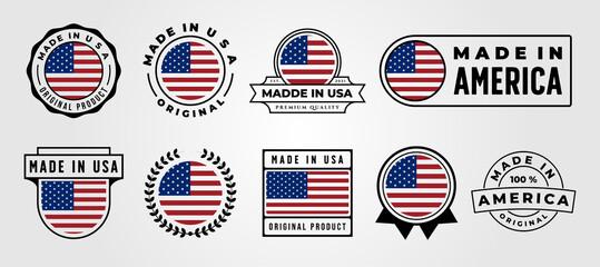 Fototapeta set of made in usa label vector symbol illustration design, made in america label design obraz