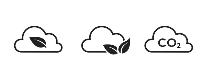 Obraz zero emissions line icon set. co2 emissions, carbon dioxide pollution. clean air, eco and environment symbol - fototapety do salonu