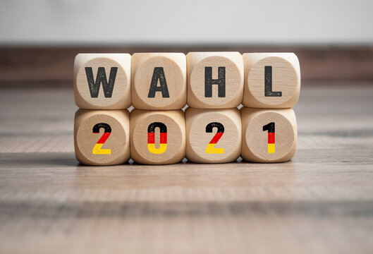Cubes, dice or blocks with the german words for federal election 2021 - bundestagswahl 2021