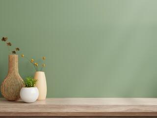 Interior wall mockup,Green wall and shelf.