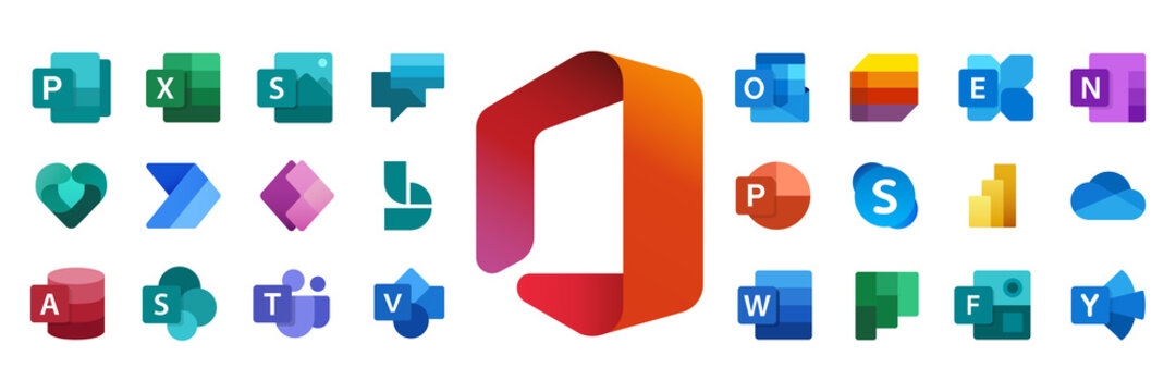 Microsoft Office 365: Outlook, Yammer, Exchange, OneNote, Publisher, Excel, Sway, Planner, Forms, Access, SharePoint, Teams, Family Safety, Power Apps, To Do, Stream. Kyiv, Ukraine - August 15, 2021