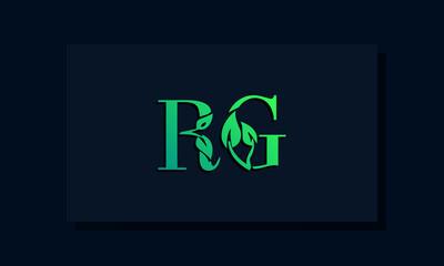 Fototapeta Minimal leaf style Initial RA logo. obraz