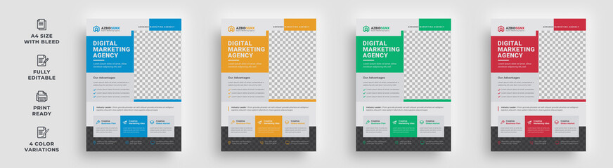 flyer corporate business creative company unique attractive trendy latest modern minimal informative abstract magazine poster leaflet bundle design template