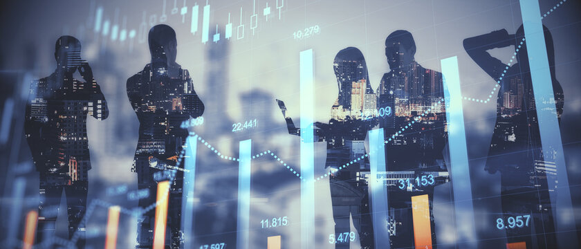 Teamwork and fintech concept. Group of young businesspeople working together on bright city background with glowing forex graph. Double exposure.
