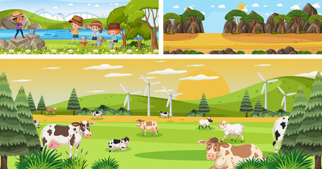Set of different outdoor panoramic landscape scenes with cartoon character