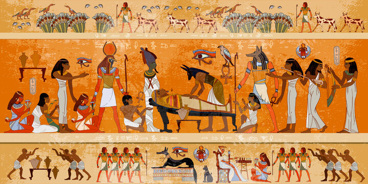 Ancient Egypt. Mummification process. Egyptian gods, mythology. Hieroglyphic carvings. History wall painting, tomb King Tutankhamun. Concept of a next world. Anubis and pharaoh sarcophagus